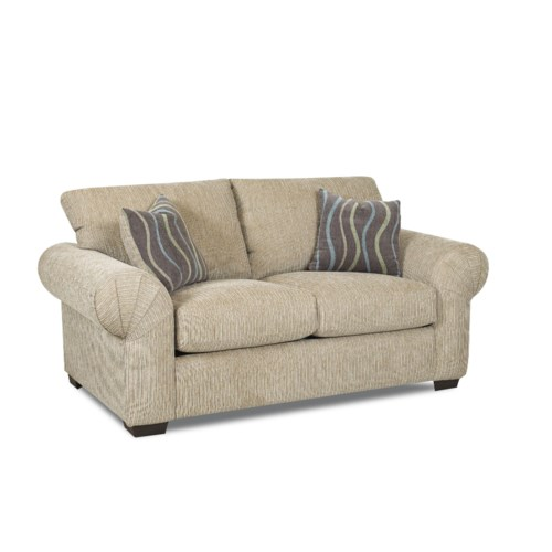 Klaussner Tiburon Casual Stationary Loveseat With Large Rolled Pleated Arms Pilgrim Furniture