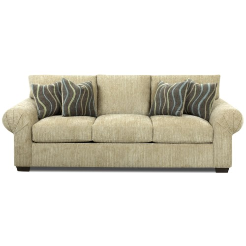 Klaussner Tiburon Casual Stationary Sofa With Large Pleated Rolled Arms Pilgrim Furniture City
