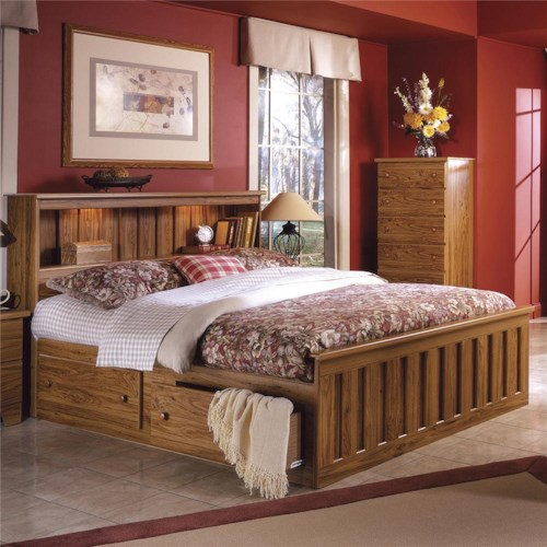 Lang Shaker Full Bookcase Bed with Under Bed Drawer Storage ...