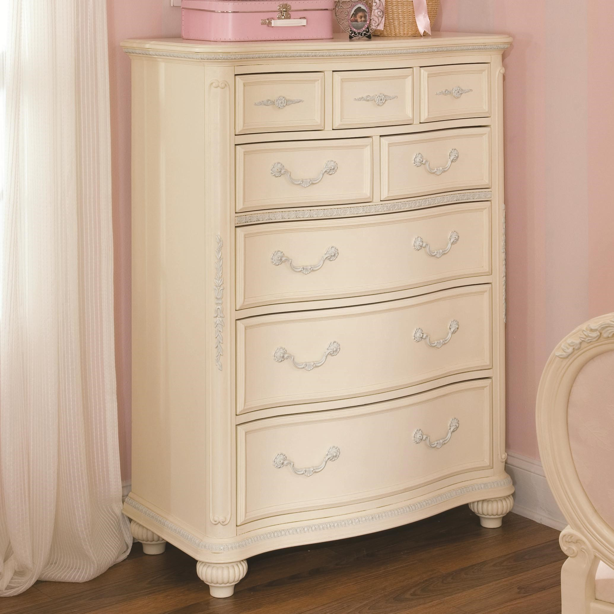 Lea Industries Jessica McClintock Romance Eight Drawer Chest With  Decorative Carving Accents
