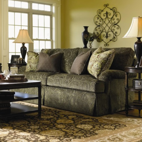 Lexington Personal Design Series Customizable Overland Sofa with English Arms and Kick Pleat Skirt