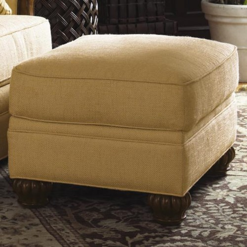 Lexington Quick Ship Upholstery Quick Ship Benoa Harbour Ottoman with Exposed Wood Feet