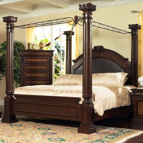 Lifestyle 9218 Bedroom King Traditional Dark Cherry 4-Poster Canopy Bed
