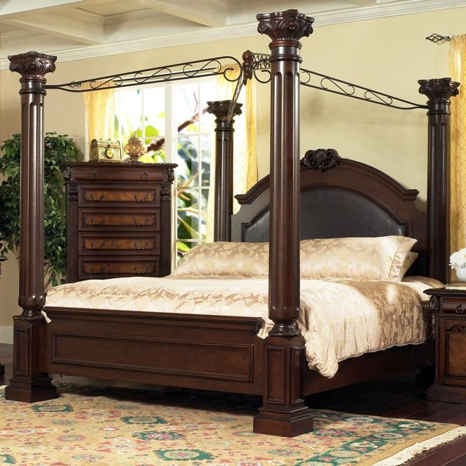 Lifestyle 9218 Bedroom King Traditional Dark Cherry 4-Poster Canopy Bed : 4 poster canopy bed king - memphite.com