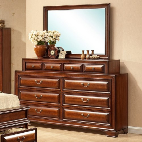 Lifestyle B1172 10 Drawer Dual Width Dresser with Convex Drawer Fronts and Mirror