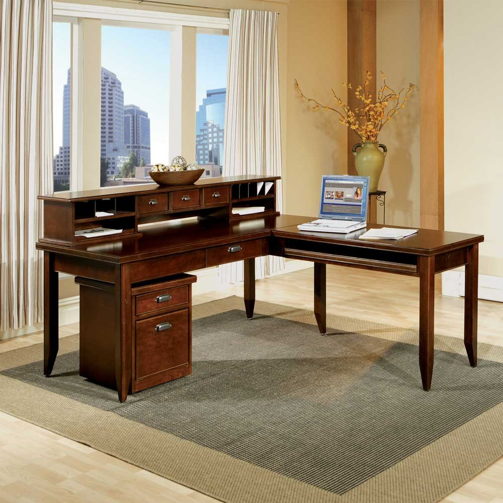 Shaped Desk With Hutch Desk With Return Hutch