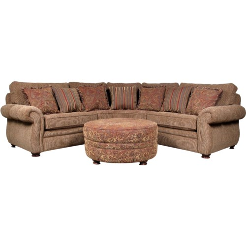 Mayo 5900 3 Piece Traditional Sectional Sofa with Spool Legs