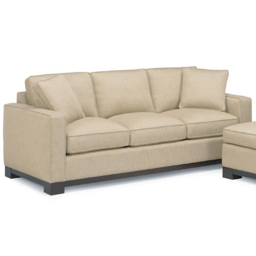 Mccreary Modern 0555 Contemporary Queen Sleeper Sofa With Track Arms And Wood Base Rail