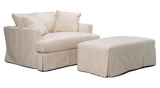 McCreary Modern 0778 Slipcover Chair And A Half And Ottoman Set With Casual  Pleated Skirt