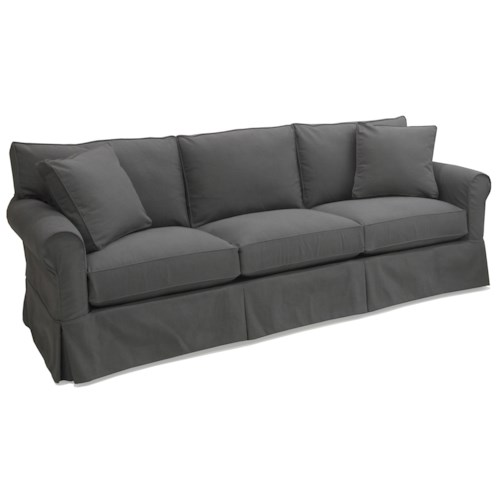 Mccreary Modern 1252 Slipcover Sofa With Rolled Arms And Skirt