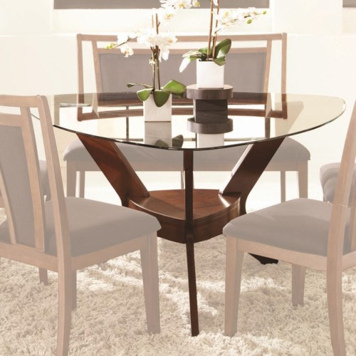 Najarian gallia triangular dining table with pedestal base and tempered glass top fashion - Triangle dining table ...