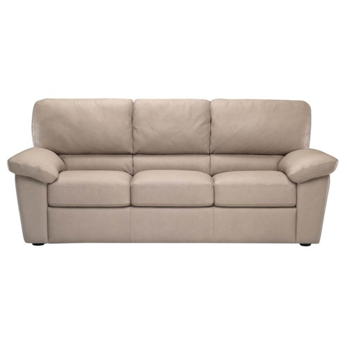 Italsofa I210 Stationary Leather Sofa With Pillow Arms