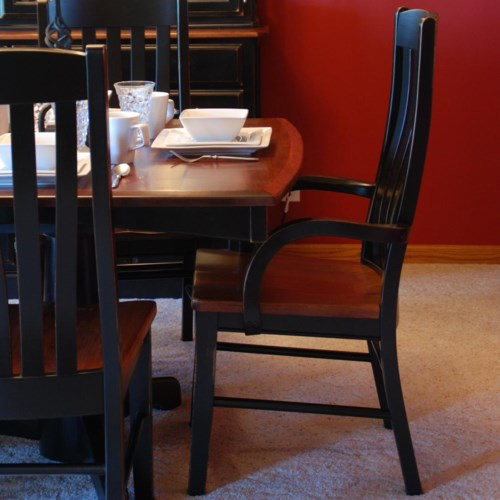 Casual dining contour arm chair