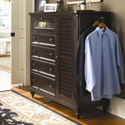 Universal Home Door Chest with Louvered Door and Clothing Rod