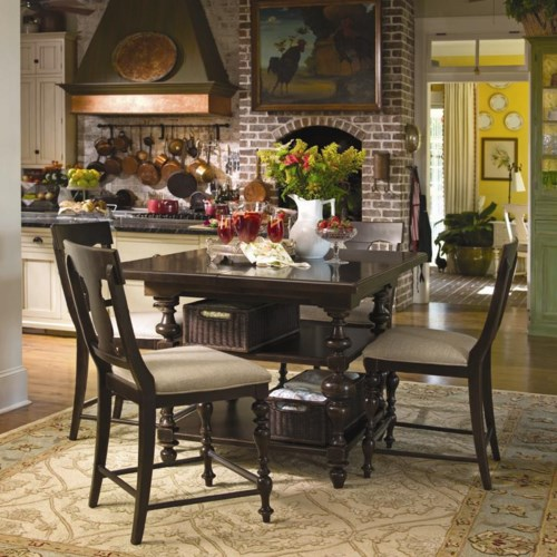 Paula Deen by Universal Paula Deen Home Gathering Table Set w/ 4 Counter Height Chairs