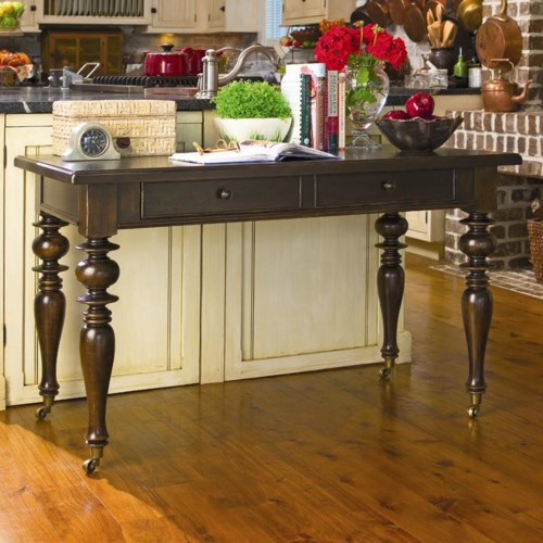Universal Home Recipe Writing Desk with Drop Down Drawer and Caster Wheels