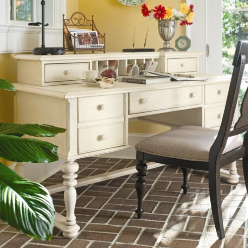 Universal Home Letter Writing Desk with Letter Deck, File Drawers, and Center Drop Front Drawer