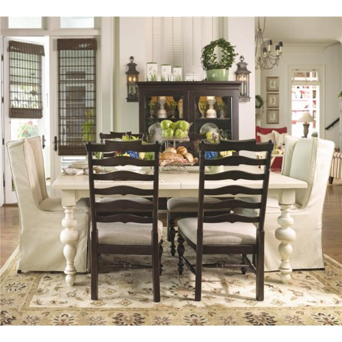 Paula Deen by Universal Paula Deen Home Paula's Table w/ 2 Upholstered Wing Chairs & 4 Ladder Back Dining Side Chairs