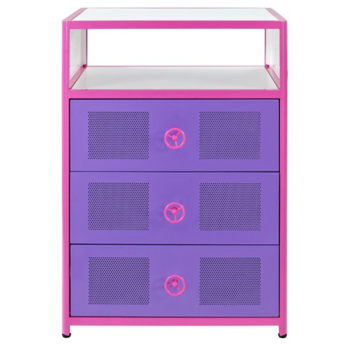 Powell Jeep 3 Drawer Pink & Purple Chest