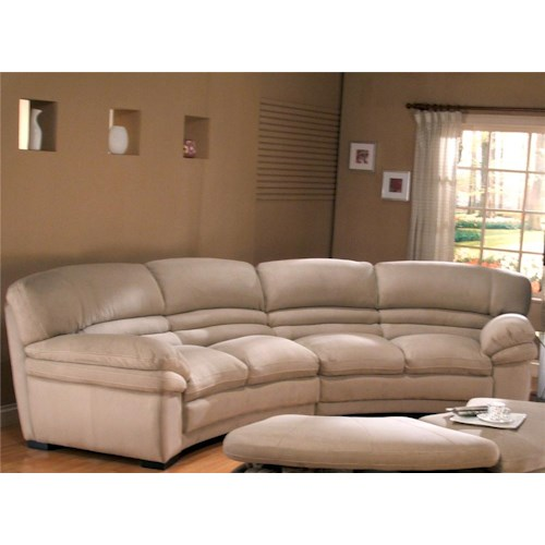 Primo International Capella Curved Sectional With Leather Upholstery