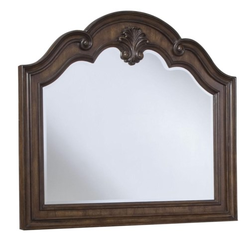 Pulaski Furniture Courtland  Arched Landscape Mirror with Shell Inset