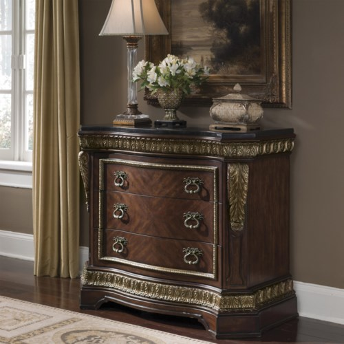 Pulaski Furniture Del Corto Traditional Bed Chest with Pilasters and Marble-Like Top