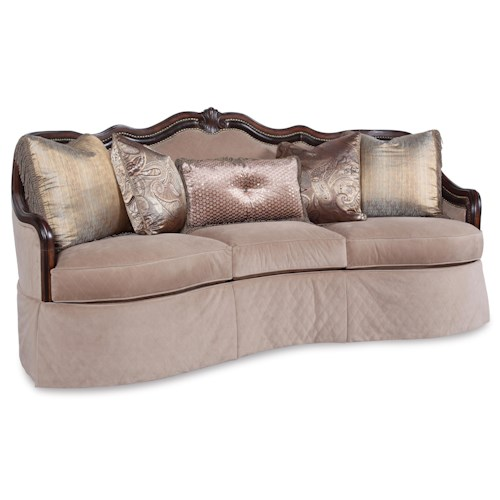 Rachlin Classics Adrianna Traditional Quilted Conversation Sofa with Exposed Wood Accents
