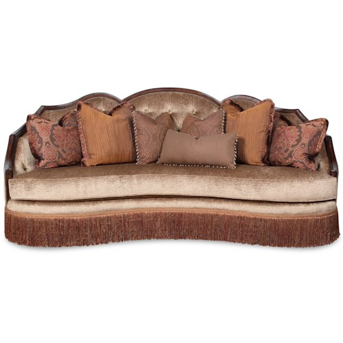 Rachlin Classics Geena Traditional Camel Back Conversation Sofa with Nailhead Trim and Fringe Skirt