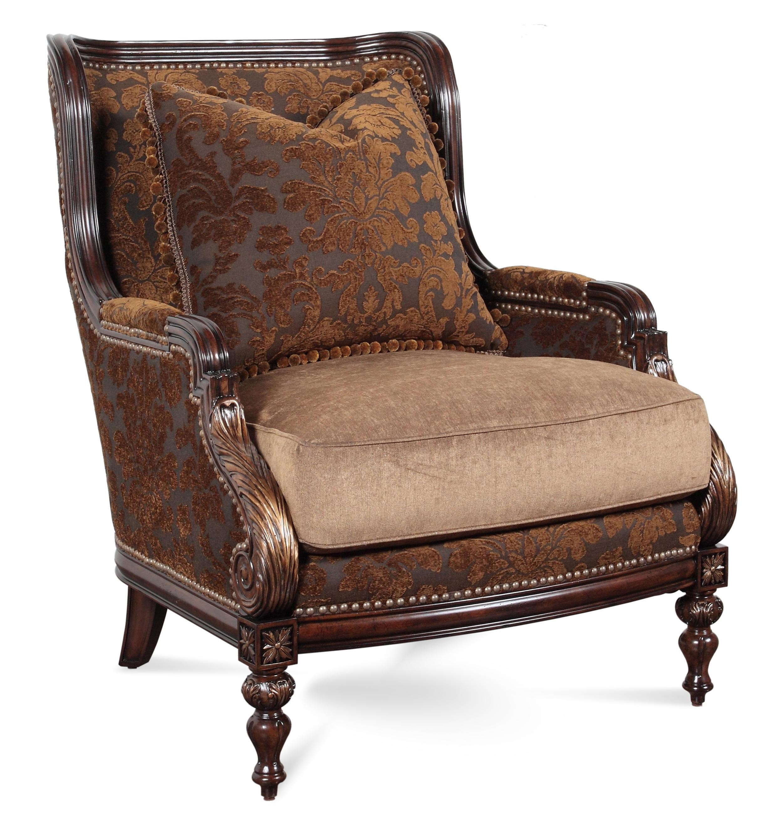 Kiana Traditional Exposed Wood Chair With Nailheads By Rachlin Classics
