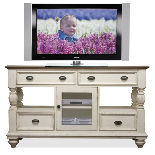 Riverside Furniture Coventry Two Tone 4 Drawer Tall TV Console with Framed Glass Door