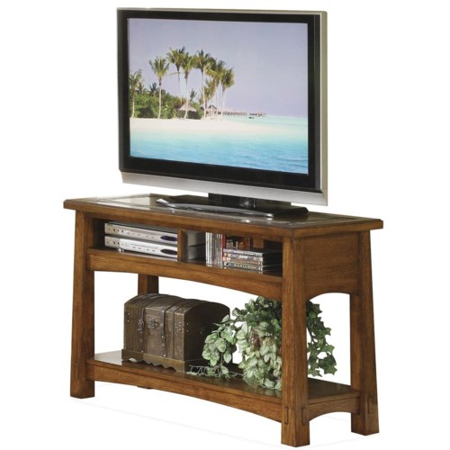 Riverside Furniture Craftsman Home Console Table with Slate Tile Boarder