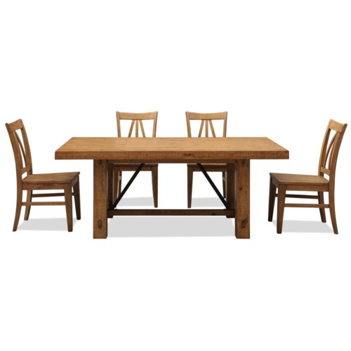 Riverside Furniture Summer Hill 5 Piece Rustic Dining Table & Chair Set