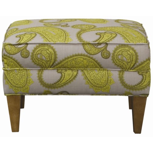 Rowe Chairs and Accents Willet Upholstered Ottoman with Tapered Legs