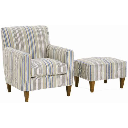 Rowe Chairs and Accents Ellery Slipcovered Chair and Ottoman