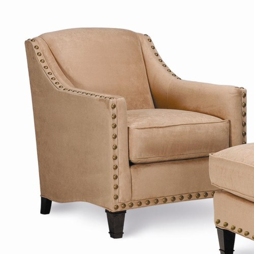 Rowe Rockford Traditional Upholstered Chair with Nailhead Trim & Exposed Wood Legs