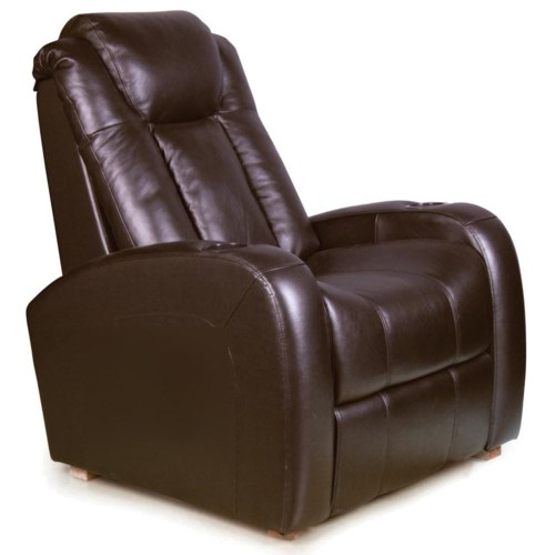 RowOne by Jasper Cabinet Bijou Home Entertainment Seating Leather Shiatsu Massage Recliner with Bucket Seating