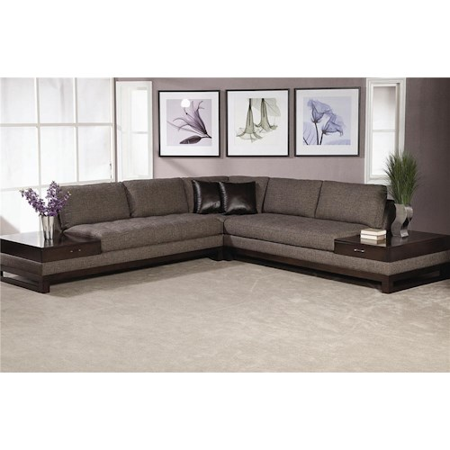 Schnadig Madison Sectional Sofa With BuiltIn End Tables With A - Sectional with built in table