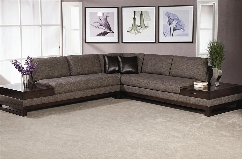 Schnadig Madison Sectional Sofa With Built In End Tables With A Drawer