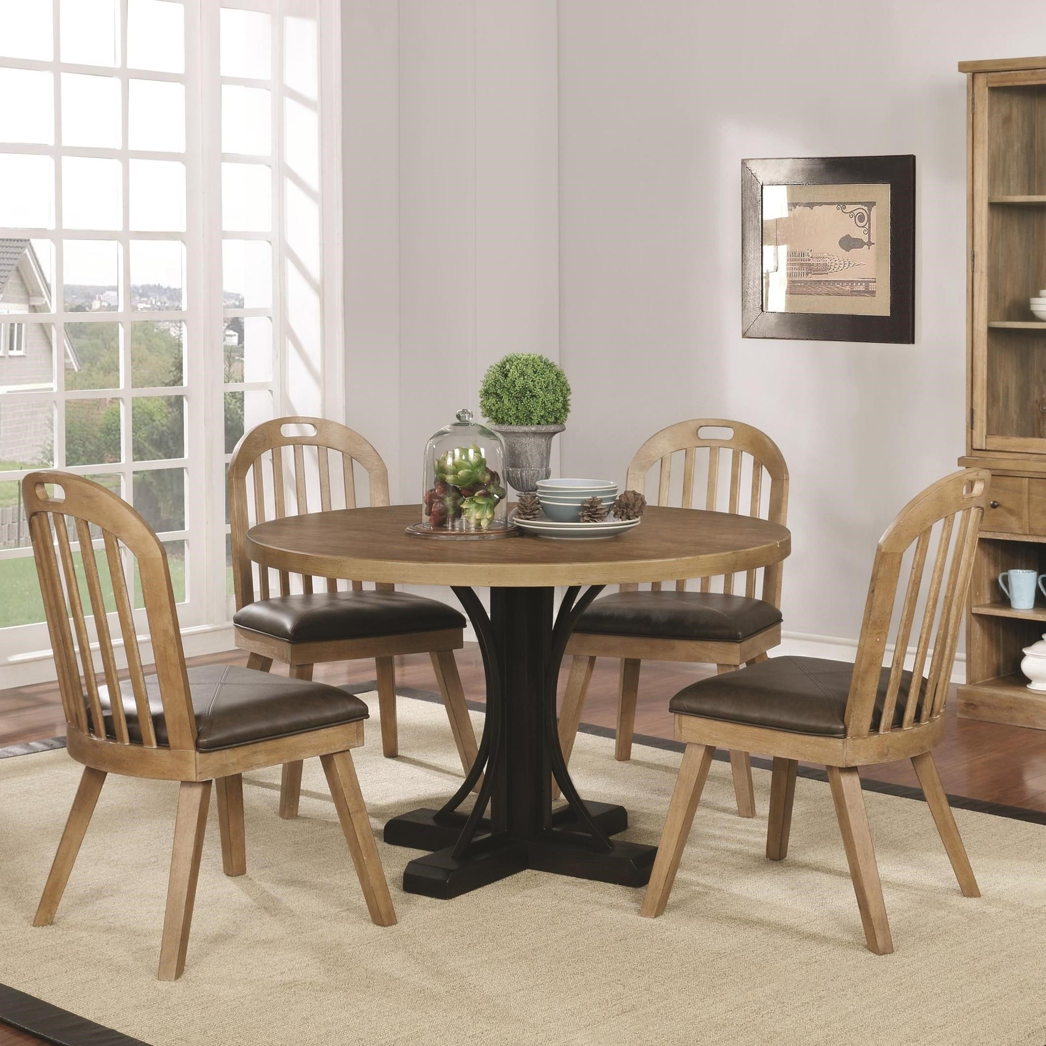 Scott Living Bishop Two Tone Round Table And Chair Set   Coaster Fine  Furniture