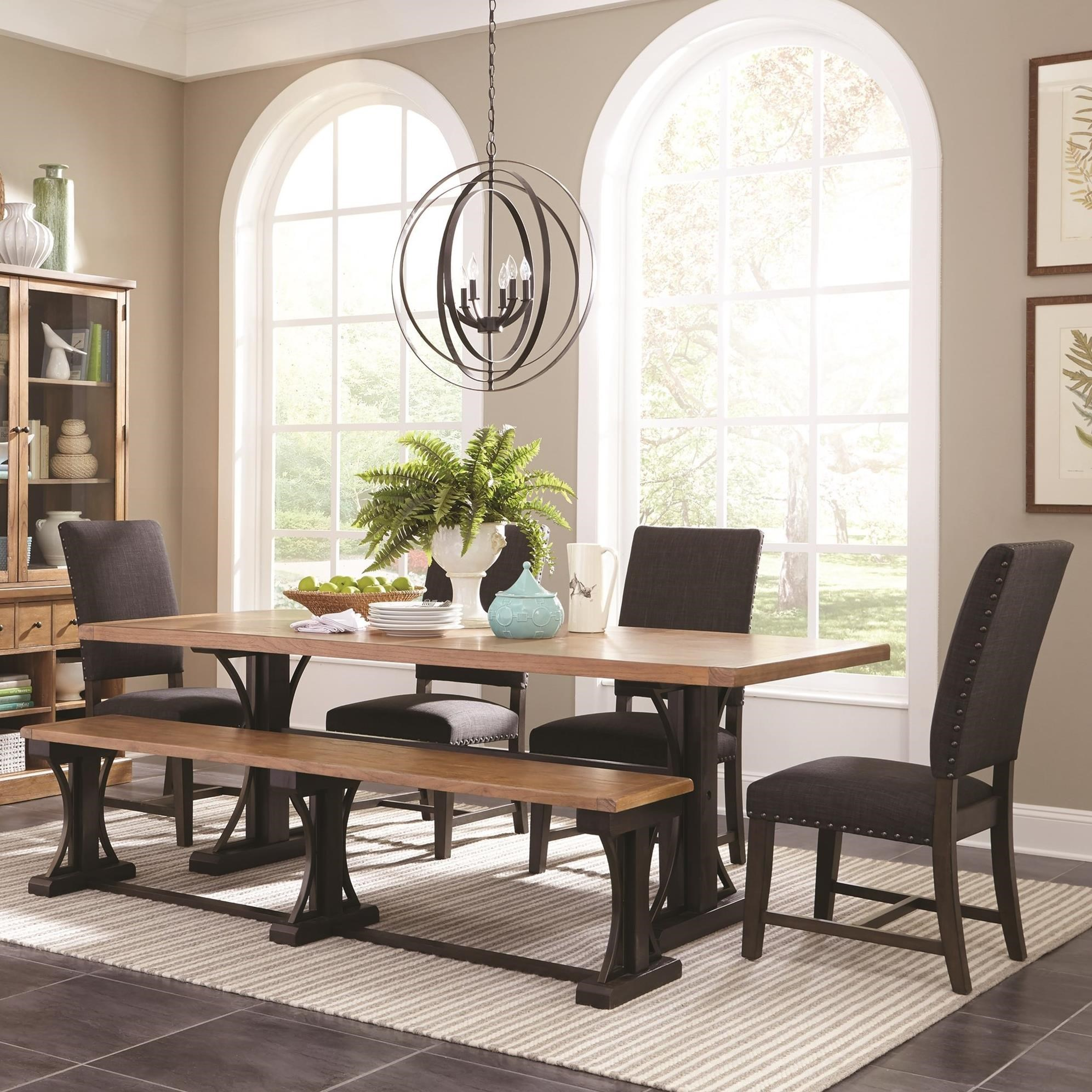 Scott Living Bishop Farmhouse Table Set With Parson Chairs And A Bench    Coaster Fine Furniture