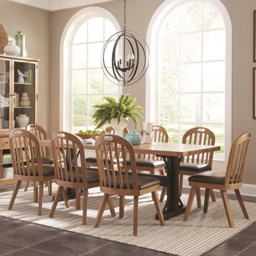 Scott Living Bishop Farmhouse Table and Eight Chair Set - Coaster ...