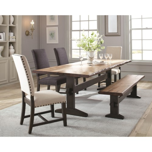 Scott Living Burnham Rustic Dining Table Set with Bench - Coaster ...