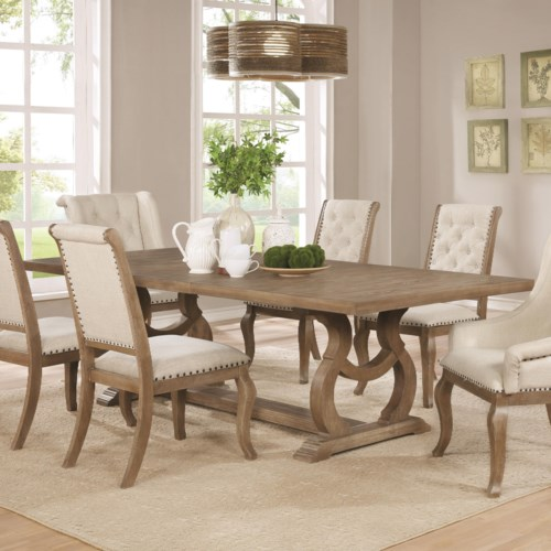 Scott Living Glen Cove Traditional Dining Table with Trestle ...