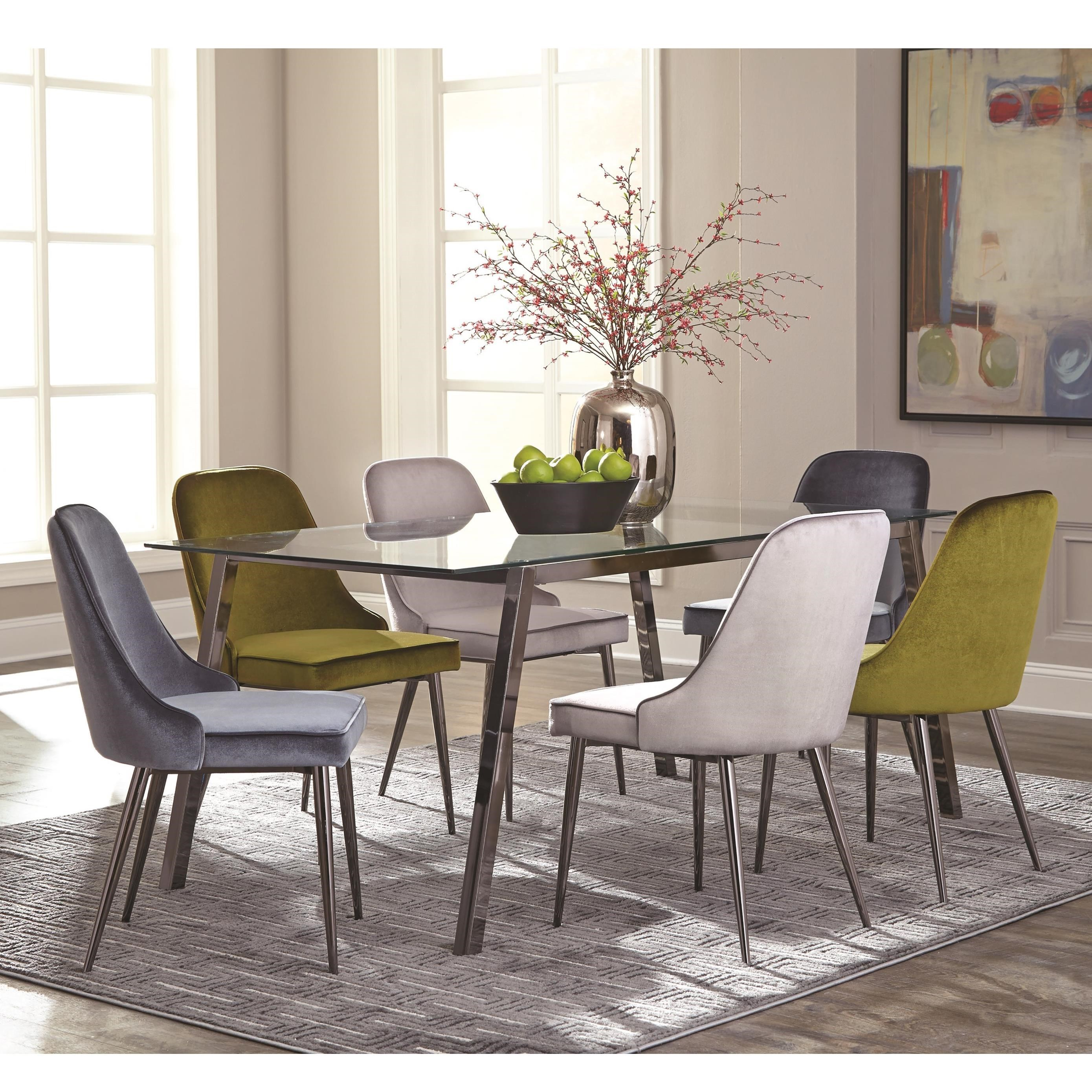 Scott Living Inslee Modern Glass Top Dining Table Set   Coaster Fine  Furniture