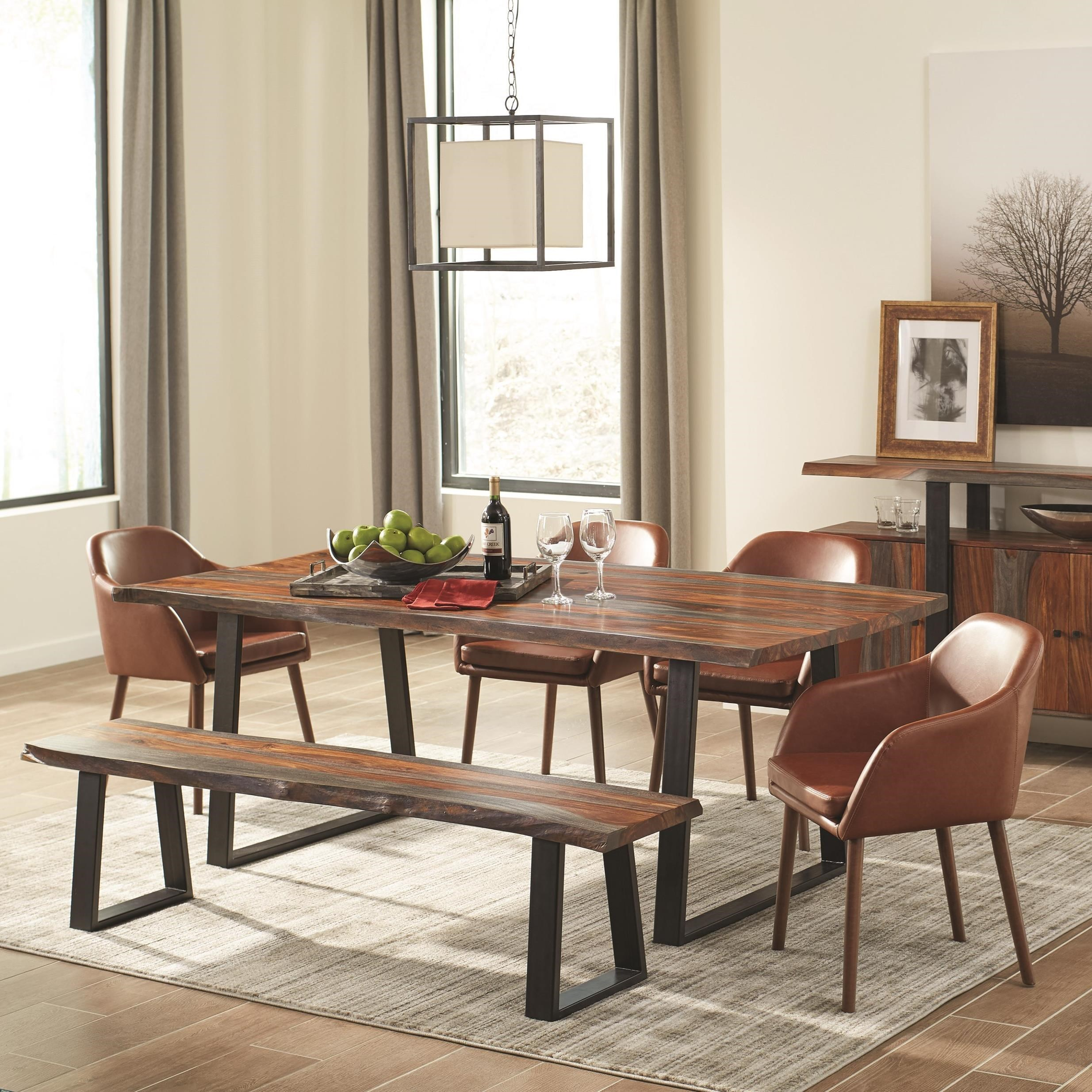 Scott Living Jamestown Rustic Dining Room Set With Bench   Coaster Fine  Furniture