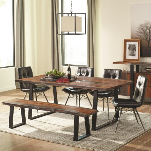 Dining Room Sets Under 500 | Scott Living Jamestown Rustic Dining Room Set With Bench Coaster