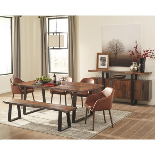 Scott Living Jamestown Rustic Dining Room Group with Brown Chairs ...