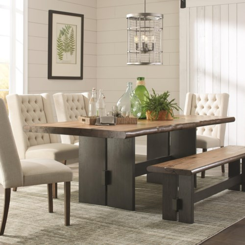 Scott Living Marquette Live Edge Dining Table with Trestle Base ...
