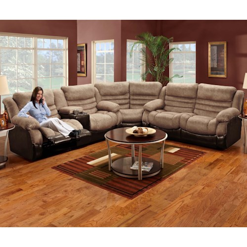 Seminole Furniture 6250  Corner Configured Reclining Sectional Sofa with Left Side Console