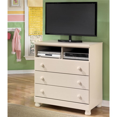 Signature Design by Ashley Furniture Cottage Retreat Three Drawer, Two Shelf Media Chest